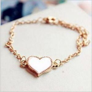 Retro White Heart Charm Bangle Cuff Bracelet